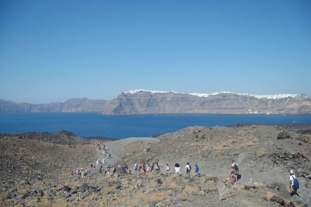 walking down the volcano